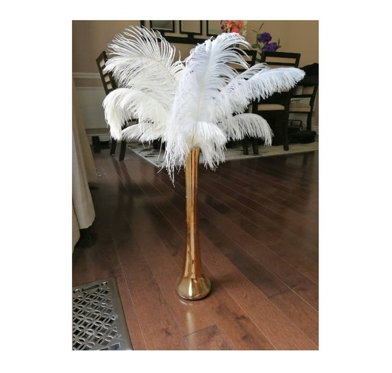 Promo gold tall ostrich feather centerpiece kits with