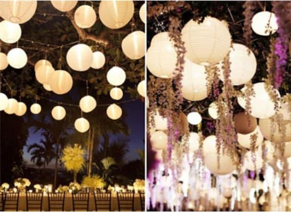 "15 white LED Light Wedding Party Decor Supplies 15x 10/"" Paper Chinese Lantern"