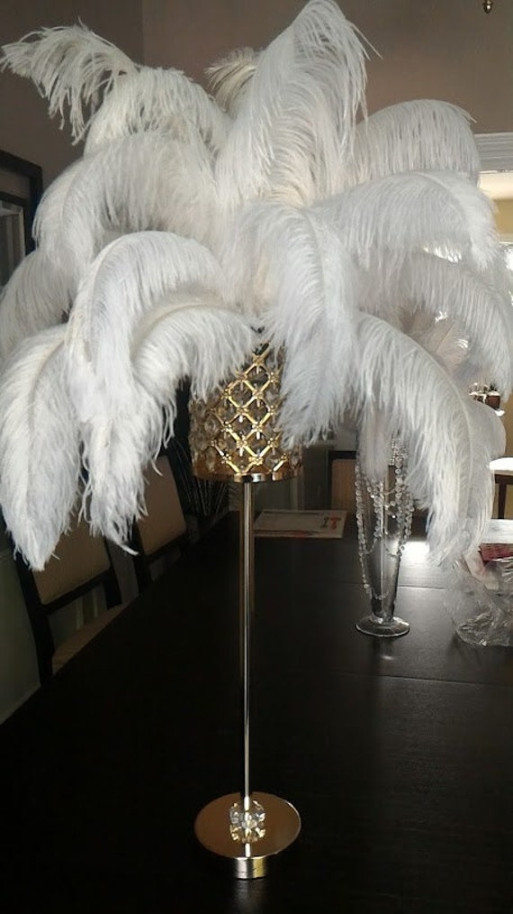 Tall gold crystal globe stand ostrich feather etsy