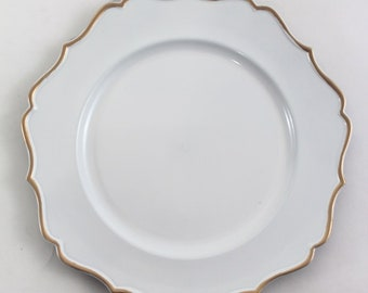"""13"""" White and Gold Charger Plate/Plates/Wedding Decor/Home Decor/Dinner Party/Antique Theme/Antique Dinner Theme/Gatsby Theme/Dining Decor"""