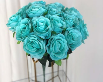 Light Blue Rose Bush/Cosmic Ocean Blue Rose Bush/Faux Flowers/Mutiple sizes/Aisle decor/ Centerpiece/Home Decor/Yellow Flowers/Roses