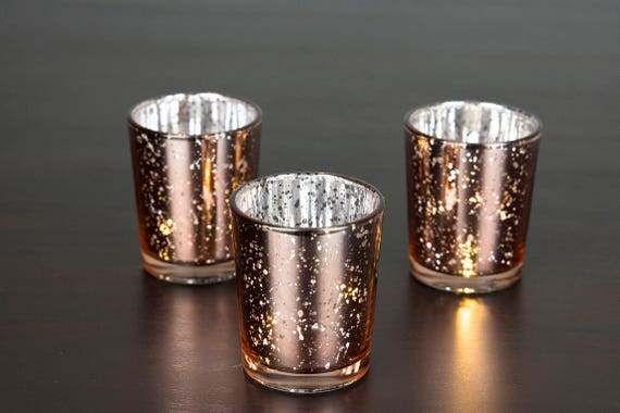 Speckled Fish Votives for Wedding Centerpieces DerBlue Square Mercury Glass Candle Holders Set of 12 Christmas Decorations Rose Gold Garden Tub and Any Theme Events