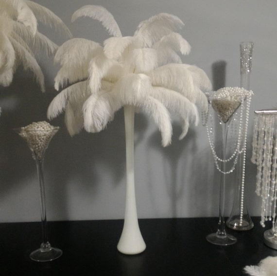 Ostrich Feather Centerpiece With White Eiffel Tower Vase Etsy