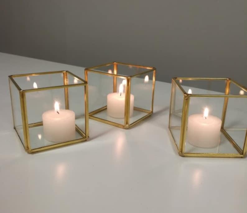 3 Glass Votive Geometric Terrarium Wedding Table image 0