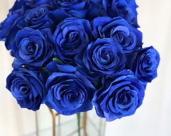 Dark Blue Rose Bush/Cobalt Blue Rose Bush/Faux Flowers/Mutiple sizes/Aisle decor/ Centerpiece/Home Decor/Yellow Flowers/Roses