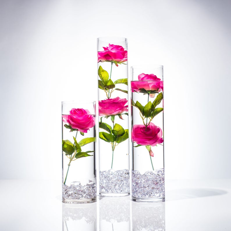 Submersible Pink Rose Floral Wedding Centerpiece With Etsy