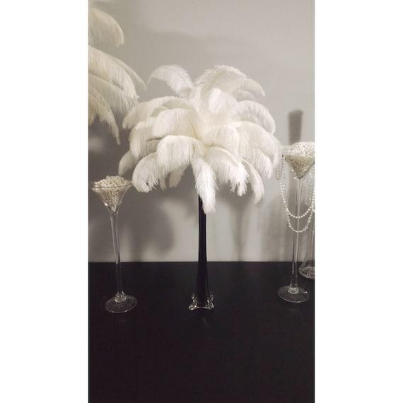 Black eiffel tower vase ostrich feather centerpiece