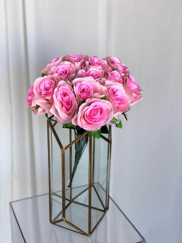Pink Rose Flower Bouquetpeach Sangriafaux Flowersmutiple Etsy
