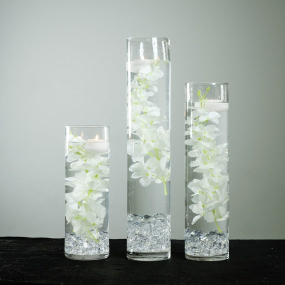 Submersible Green Tebery Stems Floral Wedding Centerpiece with Floating Candles and Acrylic Crystals Kit