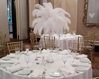 "Ostrich Feather Centerpiece Kits with 24"" Eiffel Tower Vase"