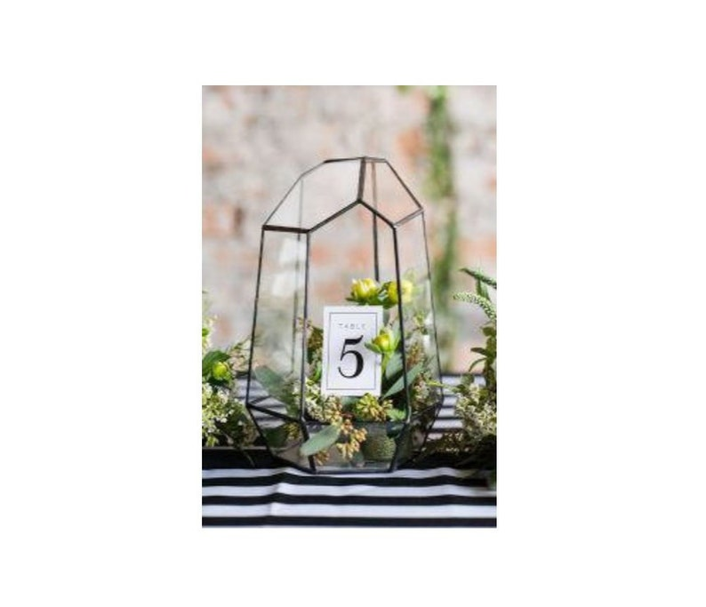 Glass Geometric Terrarium Wedding Table Decor Succulent Etsy