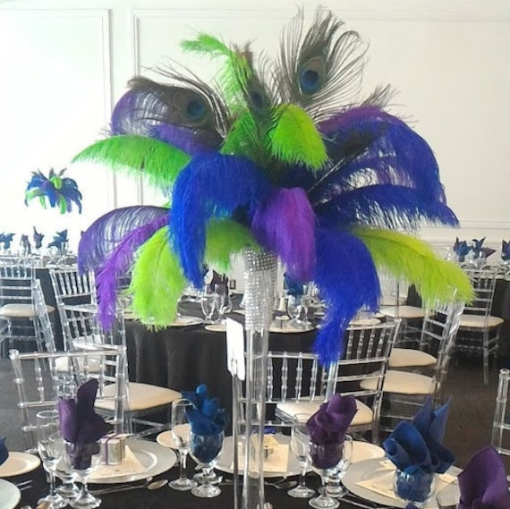 Peacock and ostrich feather centerpiece for themed