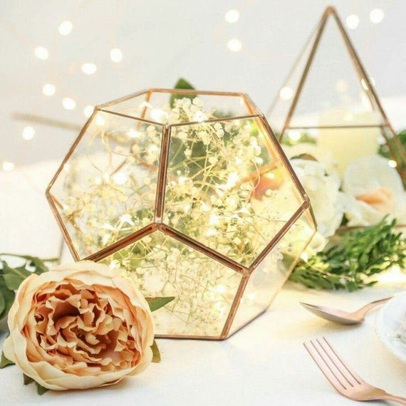Glass Geometric Terrarium Wedding Table Decor Succulent Etsy