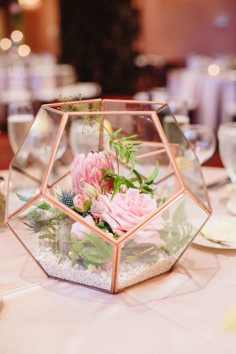 Rose Gold Copper Glass Geometric Terrarium Wedding Table Etsy