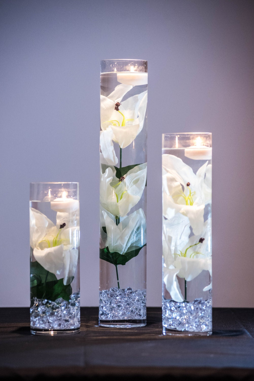 Submersible White Tiger Lily Floral Wedding Centerpiece With Etsy