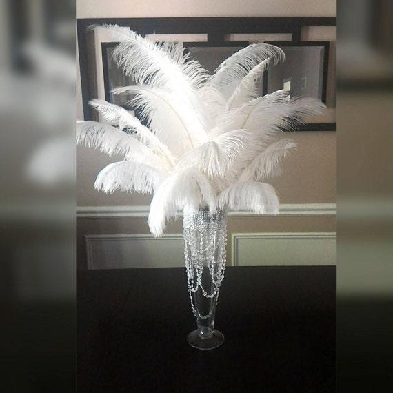 White Ostrich Feather Centerpiece 20 Trumpet Vasewith Etsy