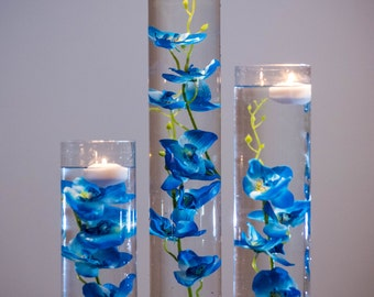 Submersible Blue/Purple/Pink/White/White with purple/Yellow Orchids Floral Wedding Centerpiece with Floating Candles and Acrylic Crystal Kit
