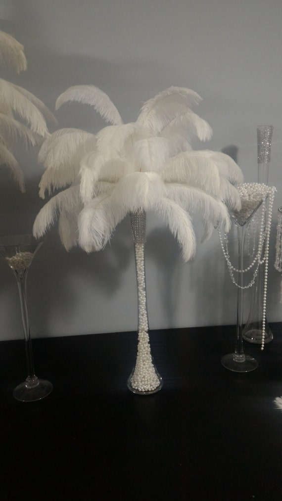 Ostrich Feather Centerpiece With Pearls Inside Eiffel Tower Etsy