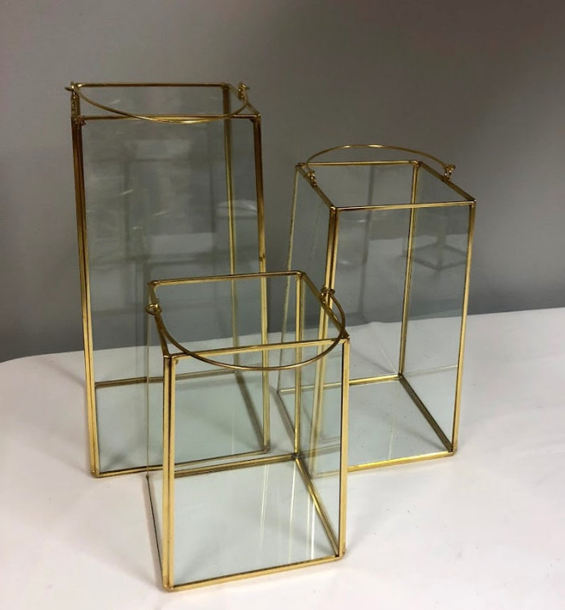 Set Of 3 Square Lantern Glass Geometric Terrarium Wedding Etsy