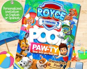 5b95a2fb15 PAW PATROL invitation, Paw-ty, Pool party, Pool Bash Birthday Invitation!  Digital File, Print at Home. paw ty