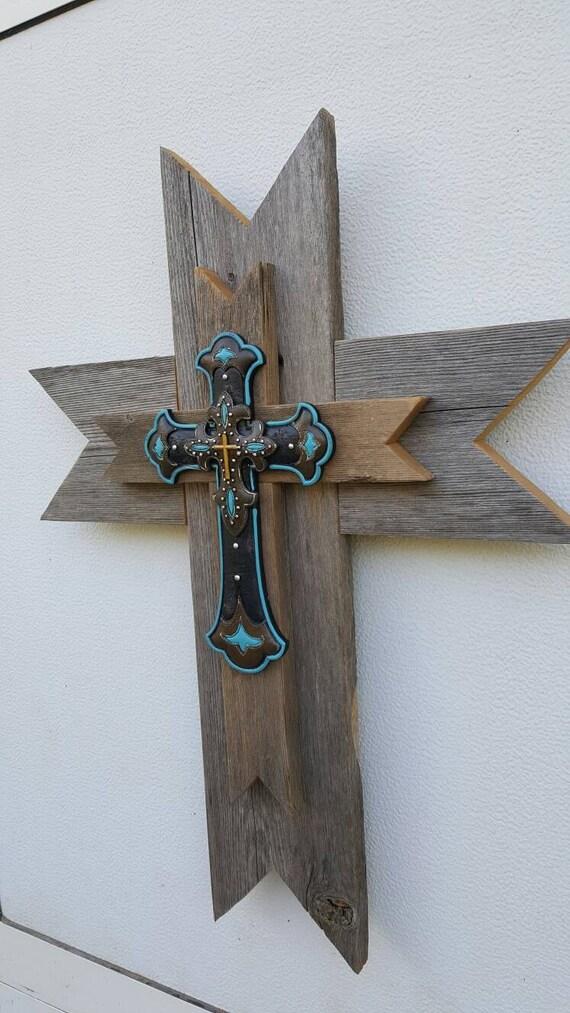 Western Reclaimed Wood Wall Cross Turquoise Cross Rustic | Etsy