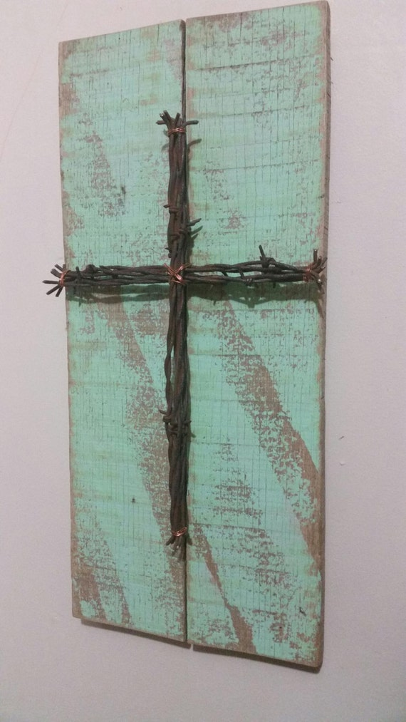 Unique Reclaimed Pallet Sign Barbed Wire Cross Upcycled | Etsy