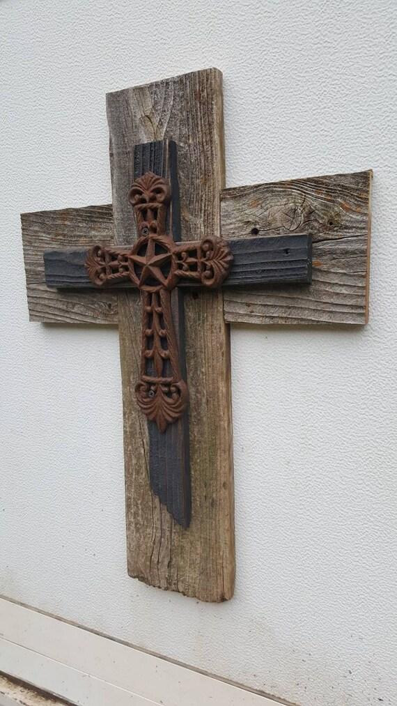 Western Reclaimed Wood Wall Cross Slate Cross Cast Iron Rustic | Etsy