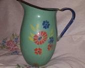 VINTAGE PITCHER, enamel pitcher, French enamel design,flower designs