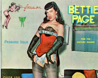 Focus on Bettie Page Magazine  1963  Very Hard to Find   Very Collectible  Stockings Corsets Gloves Fancy Bras  Legendary Pinup Model mature