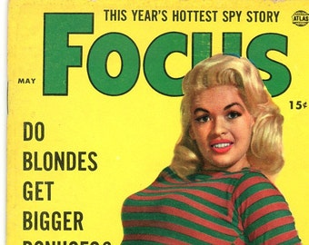 Magazine   Focus  1956  Jayne Mansfield Cover   Gina Lollobrigida  Dandridge  Sally Todd  Will Kennedy become Vice president  Monroe blondes