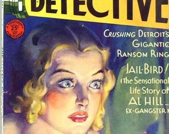 The Master Detective   1931  Magazine  Great Cover art by Dalton Stevens Jail-Bird -- Al Hill The Gangster   Detroit's Gigantic Ransom Ring