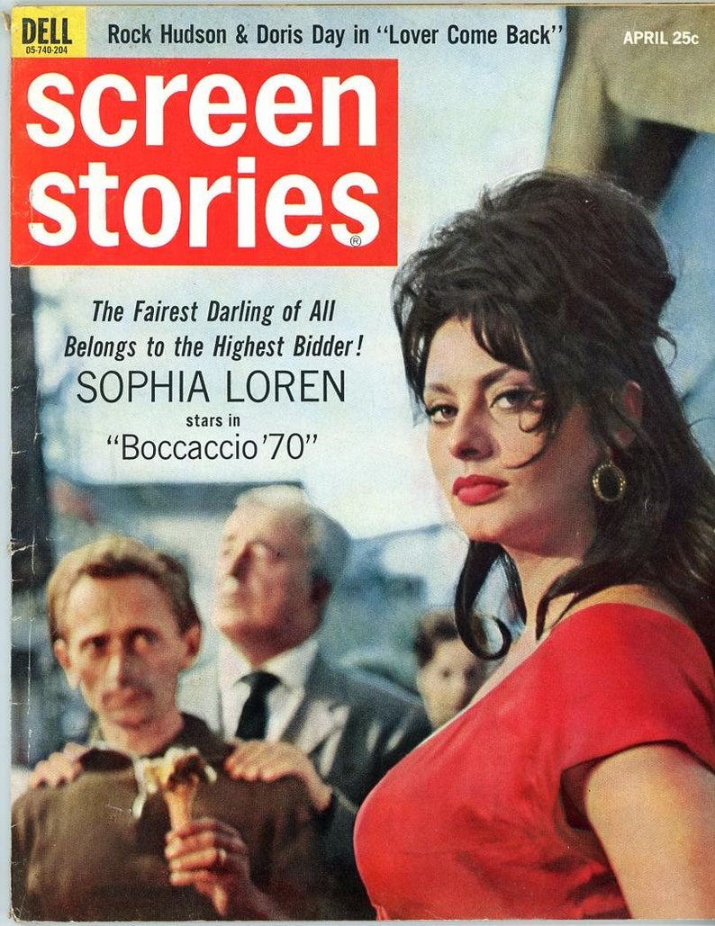 Screen Stories 1962  Sophia Loren Cover and Inside  Doris Day image 0