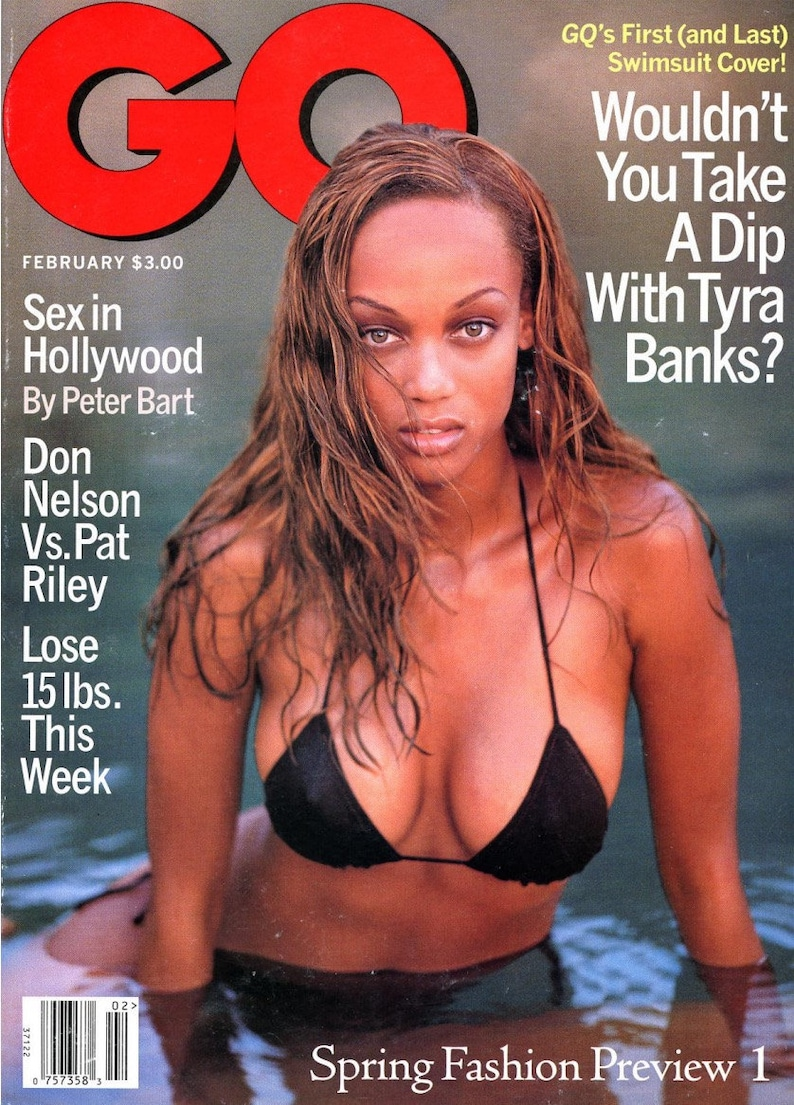 GQ Magazine 1996  Tyra Banks Cover  First & Last Swimsuit image 0