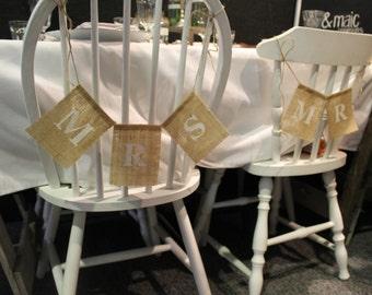 Wedding chair flags | 'Mr', 'Mrs' | White