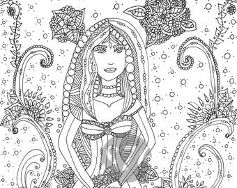 I am a mystic goddess / coloring book page / Digital stamp