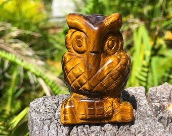 Natural Hand Carved Tigers Eye Owl