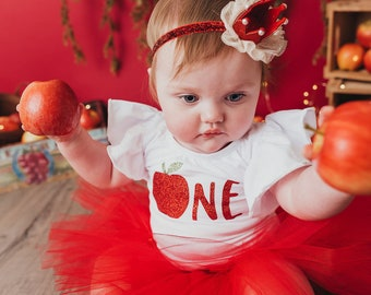 Apple Birthday Outfit   First Birthday Outfit Girl   Red Outfit Flutter Sleeve Shirt   1st Birthday Girl Outfit   Baby Cake Smash Outfit