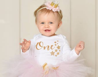 Twinkle Twinkle Little Star Birthday Outfit Girl   Pink and Gold Birthday Outfit   First Birthday Dress   Cake Smash Outfit   Photo Prop