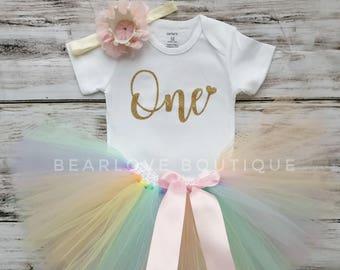 First Birthday Rainbow Tutu   1st Birthday Outfit   Rainbow Shirt   Unicorn Birthday   Cake Smash Outfit   Photo Prop   Baby Girl   Bodysuit