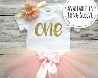 First Birthday Outfit Girl | Peach Tutu | Pink and Gold Birthday | 1st Birthday Girl Outfit | Cake Smash Outfit | Photo Prop | Baby Toddler