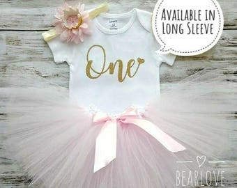 First Birthday Outfit Girl   Pink and Gold First Birthday Dress   1st Birthday Girl Outfit   Birthday Shirt   Cake Smash Outfit   Photo Prop