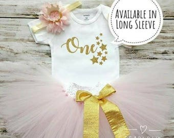 One Year Old Girl Birthday Outfit   First Birthday Outfit Pink and Gold   1st Birthday Outfit   Twinkle Twinkle   Cake Smash Outfit   Dress