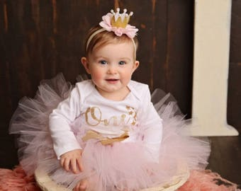 Twinkle Twinkle Little Star Birthday Outfit | Pink and Gold Birthday Tutu | First Birthday Dress | Cake Smash Outfit Girl | Photo Prop