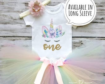 Unicorn Birthday Outfit | First Birthday Outfit Girl | 1st Birthday Girl Outfit | Unicorn Shirt | Rainbow Tutu 2nd Birthday Baby Cake Smash