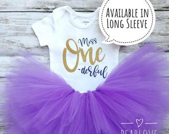 Miss One-derful Birthday Outfit | One-derful Birthday Shirt | Purple and Gold Birthday | First Birthday | Cake Smash Outfit | Photo Prop