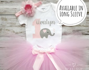Elephant First Birthday Girl | Elephant Birthday Outfit | 1st Birthday Girl Outfit | Pink and Grey Dress | Cake Smash Outfit | Photo Prop