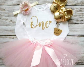 Pink and Gold First Birthday Outfit Girl   1st Birthday Girl Outfit   Cake Smash Outfit   Photo Prop   Toddler Baby Girl Shirt   Pink Tutu