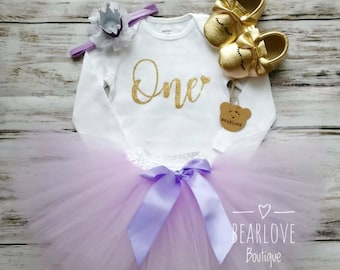Lavender and Gold First Birthday Outfit | Lavender 1st Birthday Outfit | Cake Smash Outfit | Photo Prop | Lavender Birthday Outfit