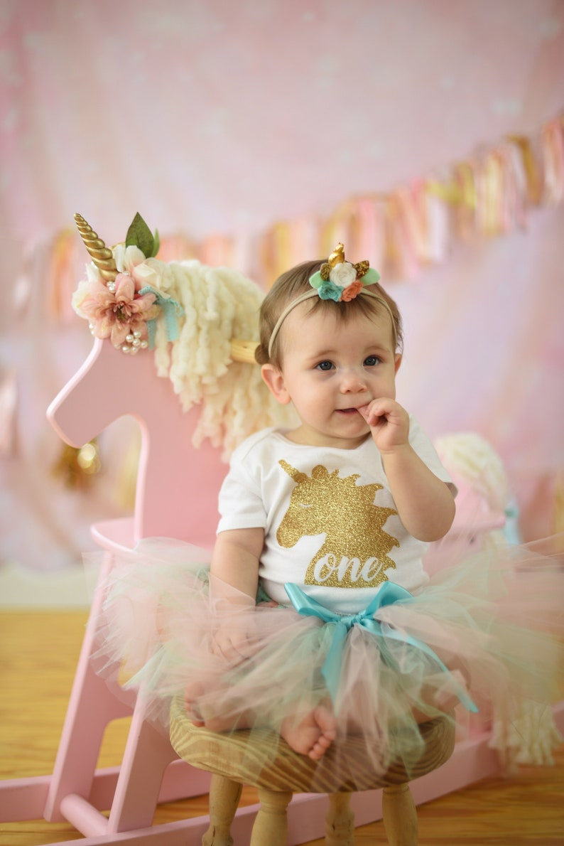 309e158f3b46 Unicorn Birthday Girl Outfit 1st Birthday Outfit First | Etsy
