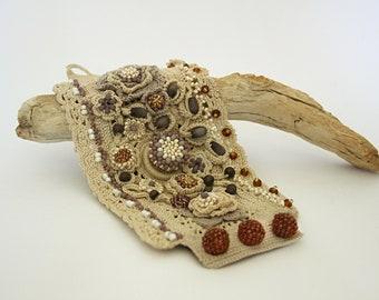Beige crochet cuff bracelet. Wide beaded cuff. Floral cuff bracelet. Wrist cuff romantic jewelry. Fiber art cuff bracelet. Soft cotton cuff